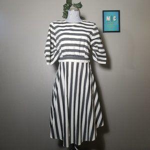 Who What Wear Stripe Cotton Gray Dress
